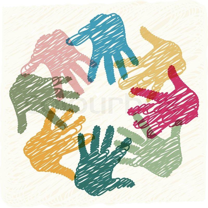 Teamarbeit-Hände   Vektorgrafik   Colourbox
