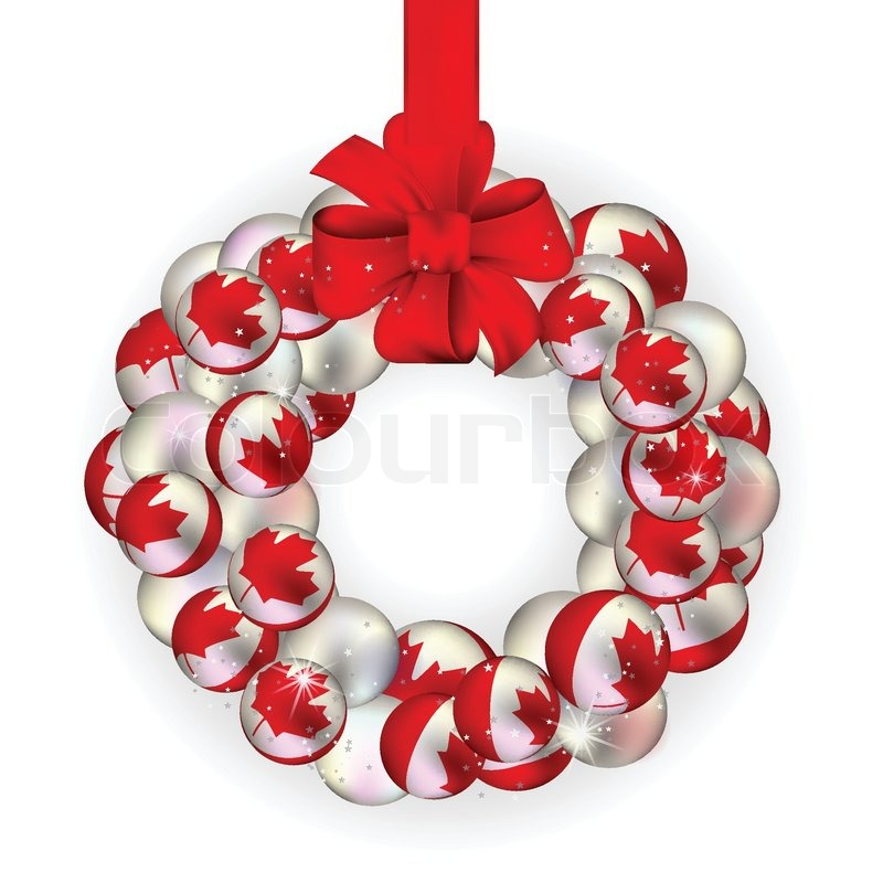 christmas wreath decoration from canada baubles on white stock vector colourbox