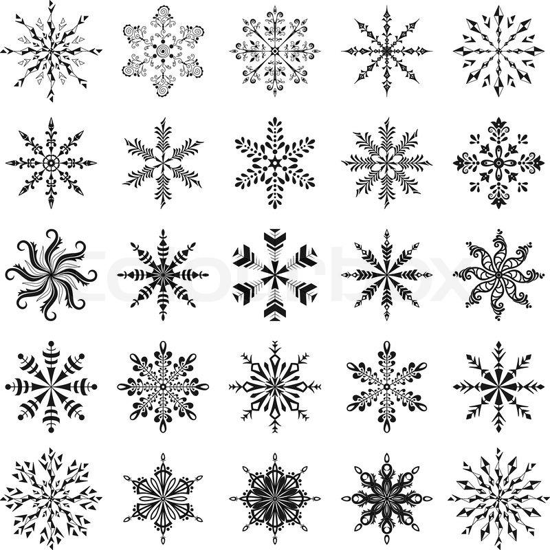 Legen sie die schneeflocken zu vektorgrafik colourbox - Dessin flocon de neige simple ...