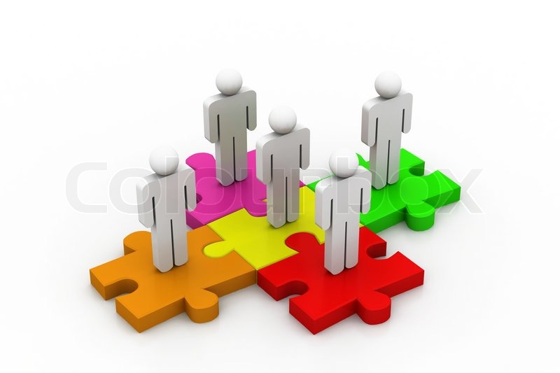 People Are Standing On Pieces Of Jigsaw Puzzle