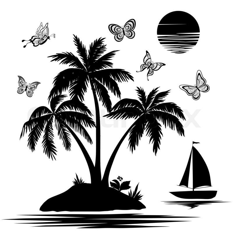 insel mit palme schiff schmetterlinge silhouetten stockfoto colourbox. Black Bedroom Furniture Sets. Home Design Ideas
