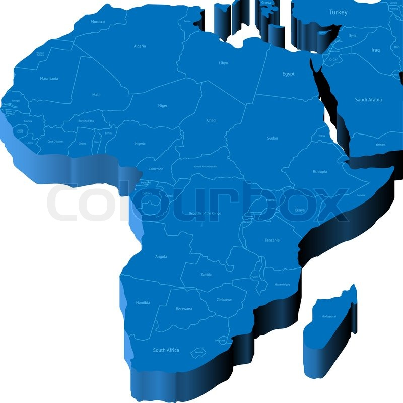 3d map of Africa Stock Vector Colourbox