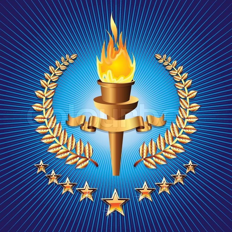 Olympic Torch On Blue Background With Star Stock Vector Colourbox