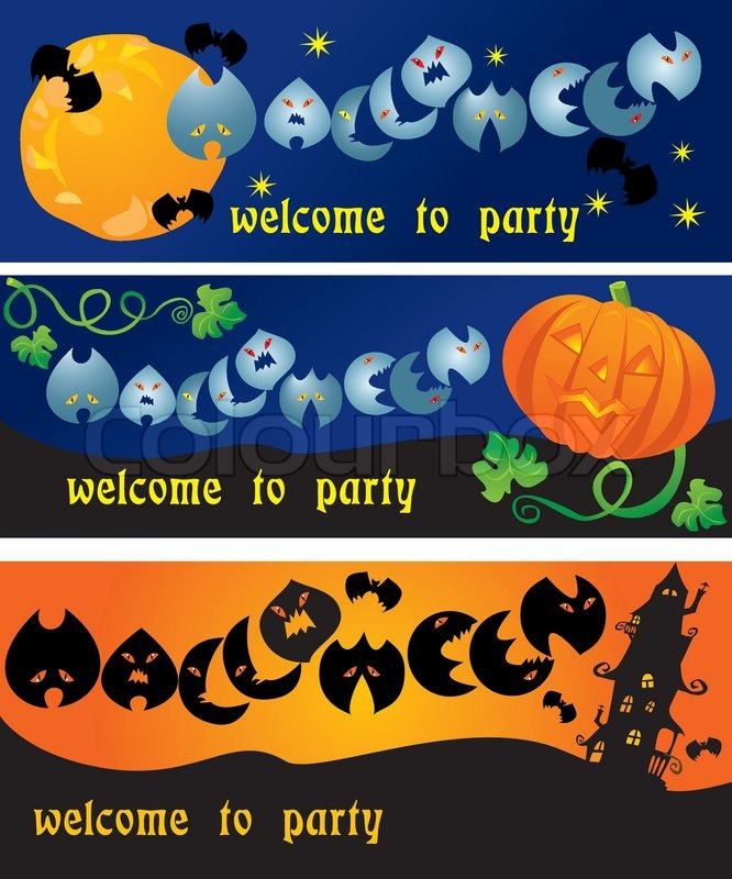 Invitation cards to Halloween party with pumpkin, bats, ghosts and ...