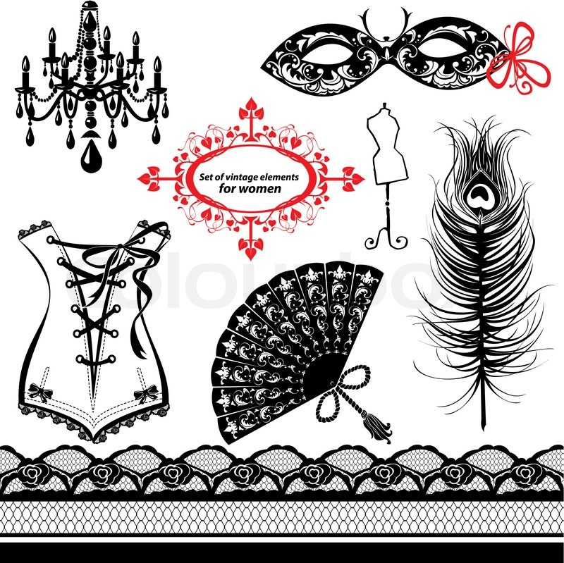 Set Of Elements For Women Carnival Mask Corset Peacock Feather Fan Image 4708366 on retro home theater