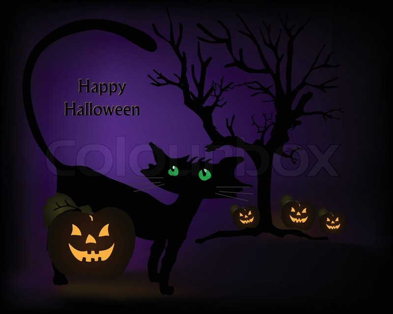 Halloween Scene With Black Cat, Pumpkins And Tree Vector | Stock Vector |  Colourbox