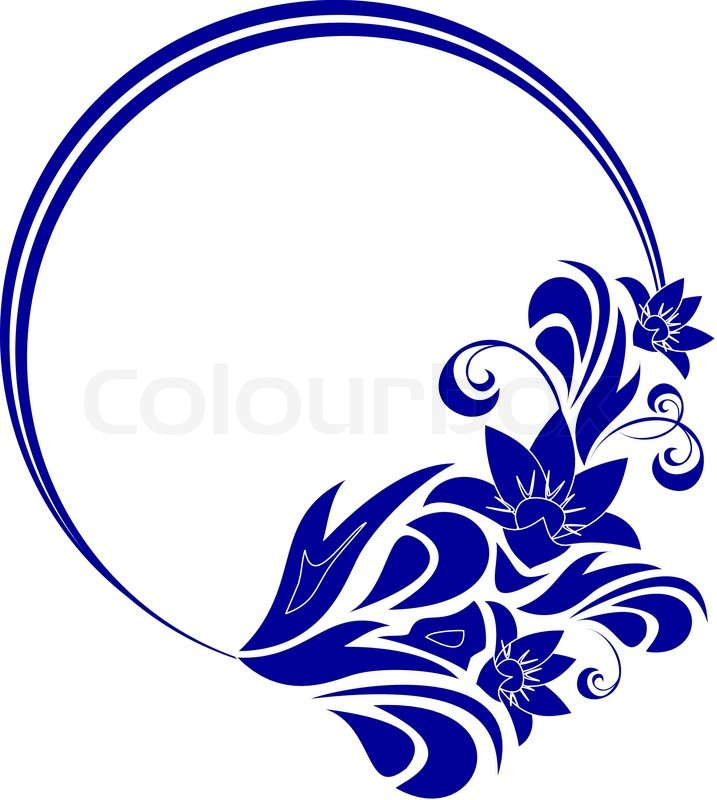 Round frame with decorative branch. Vector illustration ...