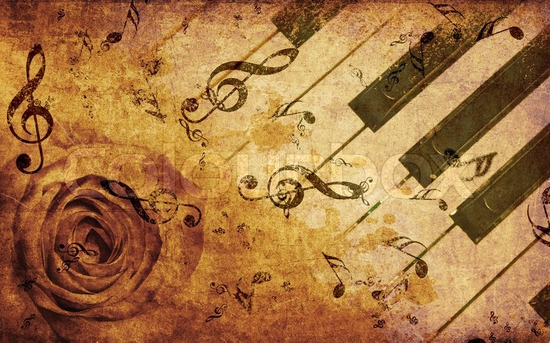 Vintage Music Note Wallpapers For Android Harmony: Music Background With Rose And Notes