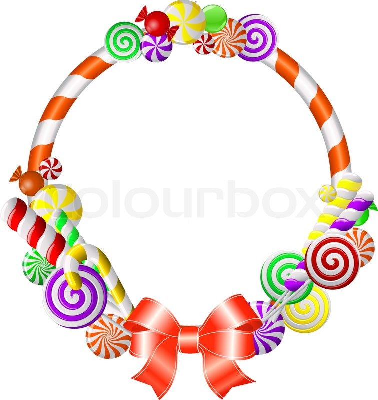 Colorful Candy Borders Frame with colorful candies
