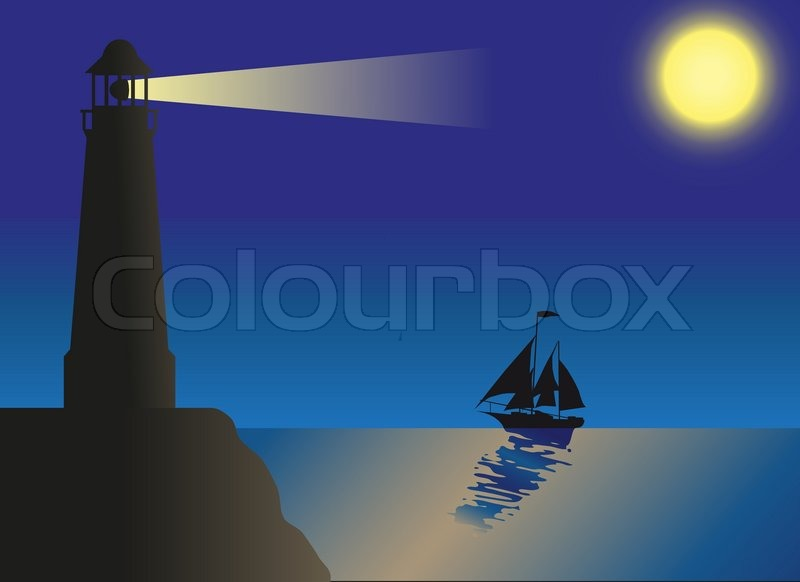 Lighthouse Silhouette Against The Sky And Sea Stock