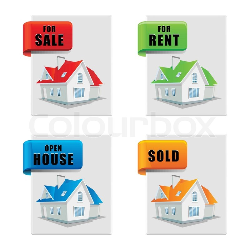 Real Estate Banner Set House For Sale For Rent Sold Open