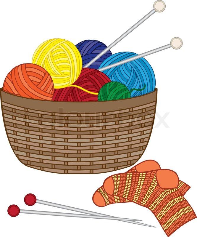 Free Knitting Icons Clipart : Stricken korb mit wolle bälle nadel und gestrickte