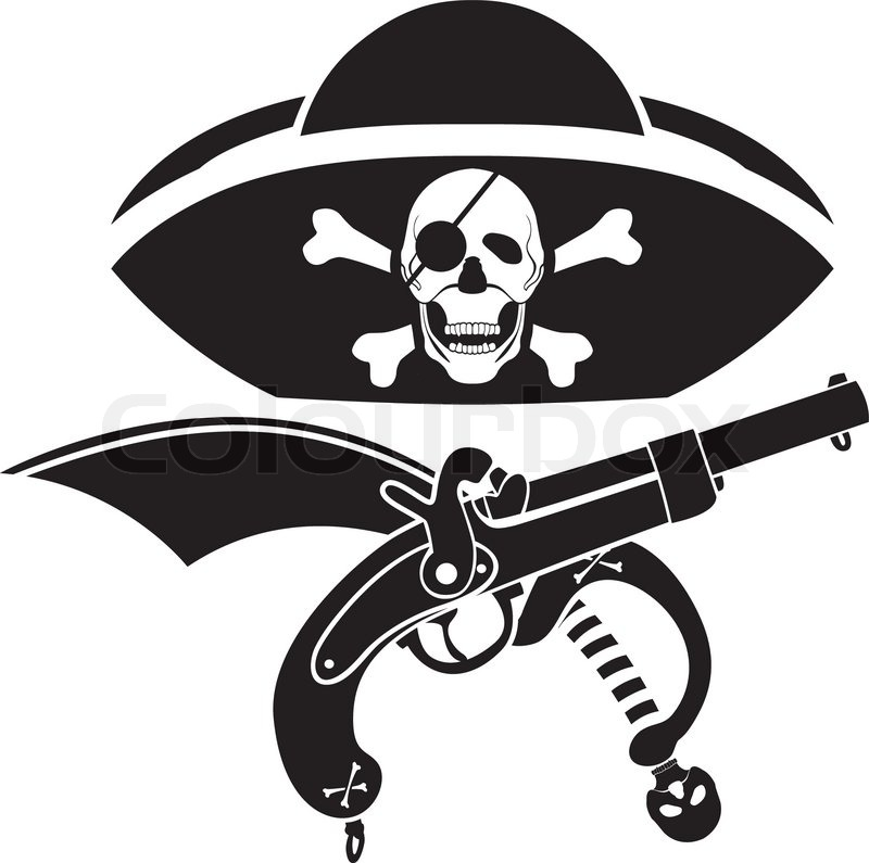 Piracy Symbol Hat With Skull Gun And Sabre Stencil