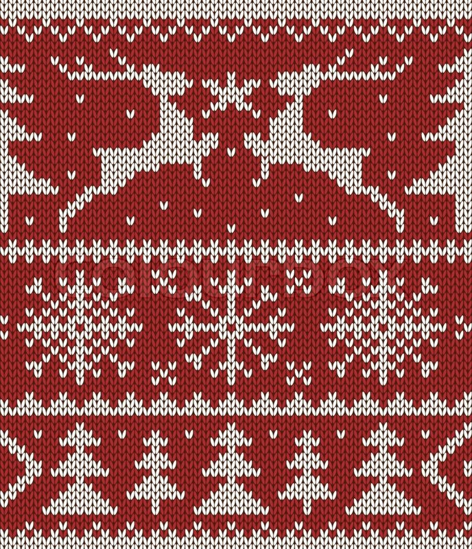 Christmas Knitting Background : Christmas knitted pattern stock vector colourbox