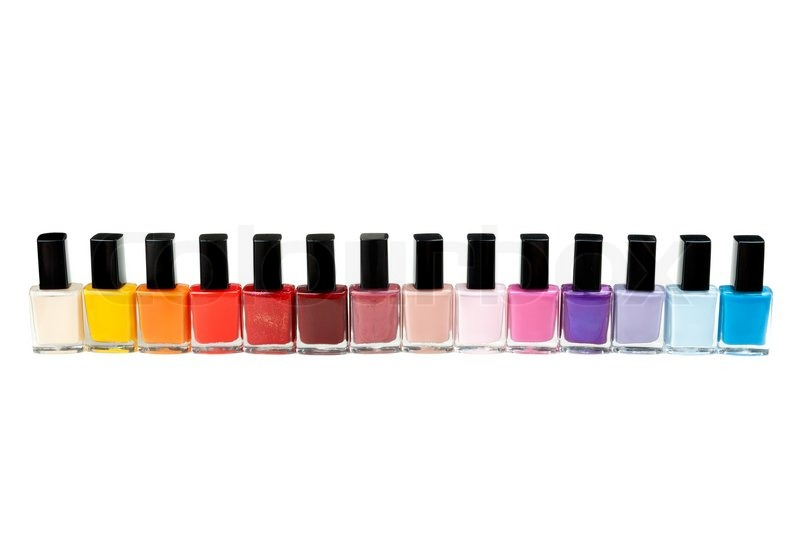 Colored nail polish in a row | Stock Photo