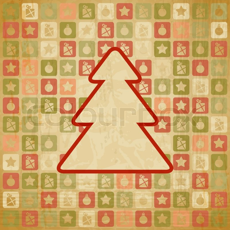 Vector vintage Christmas background in retro style | Stock Vector ...