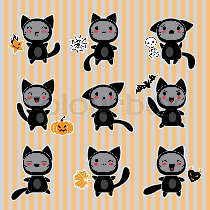Kawaii collection of Halloween-related objects and creatures ...