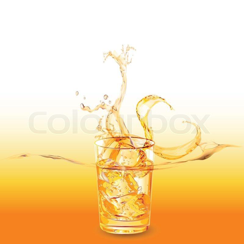glas whiskey mit eisw rfeln spritzwasser aus vektorgrafik colourbox. Black Bedroom Furniture Sets. Home Design Ideas