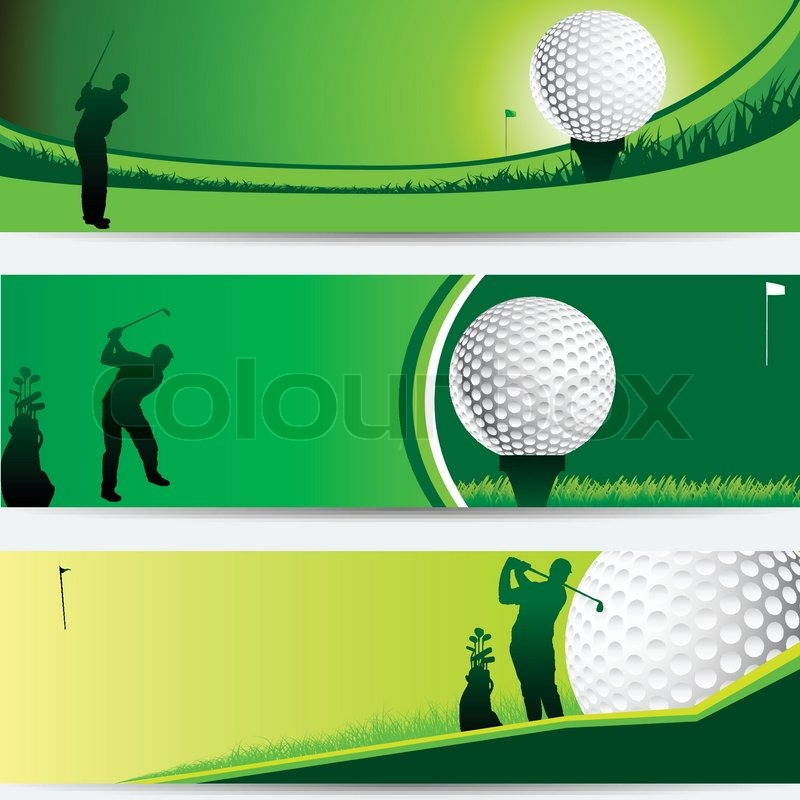 Golf Tournament Green Banner Set With Stock Vector Colourbox