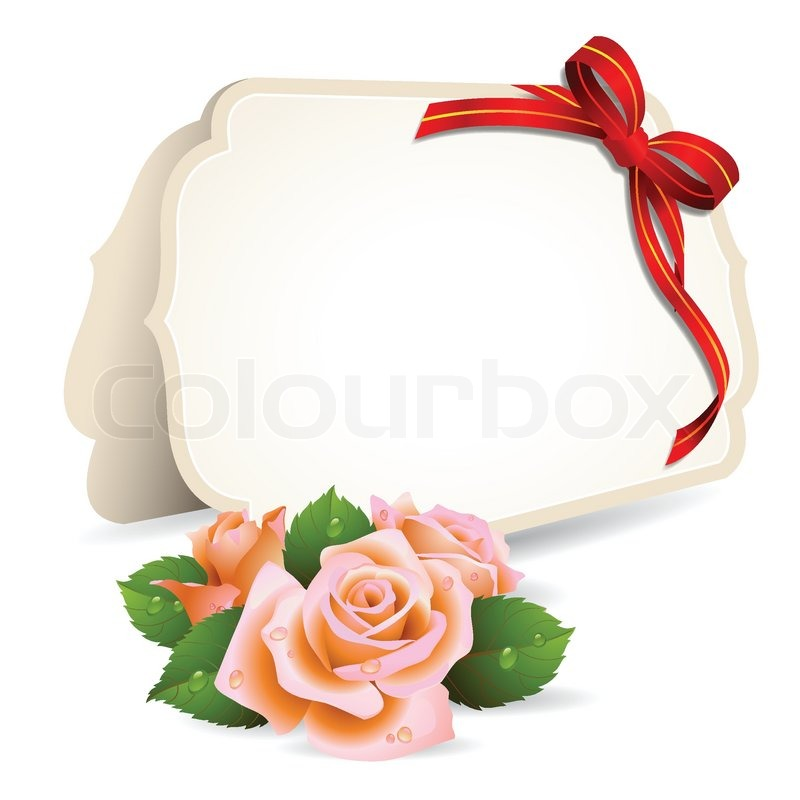 Blank Invitation Card And Roses On Background Stock