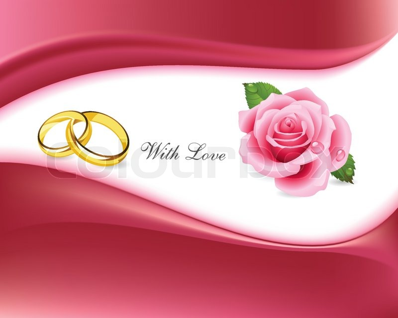 rings and roses with love background stock vector