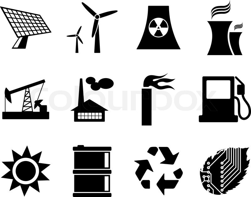 electricity  power and energy icon set