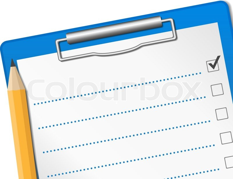 Clipboard with check list   Stock vector   Colourbox