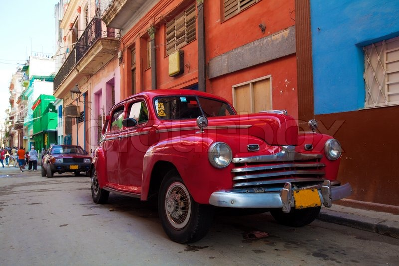 Vintage Red Car On The Street Of Old City Havana Cuba Stock