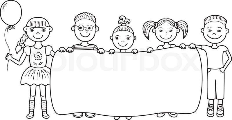 stock vector of cartoon children holding empty banner - Cartoon Image Of Children