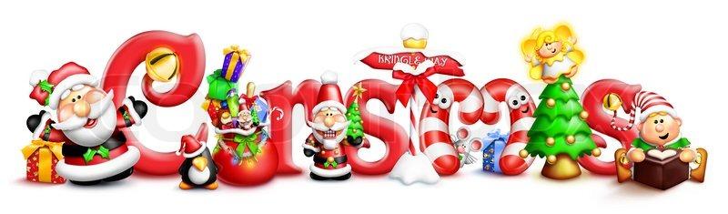 Whimsical Weihnachten Wort mit Zeichen   Stockfoto   Colourbox