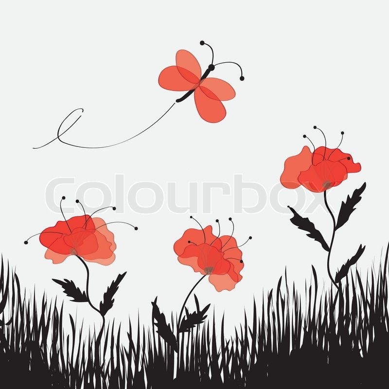 Cartoon landscape with poppies butterfly and grass stock vector cartoon landscape with poppies butterfly and grass stock vector colourbox mightylinksfo