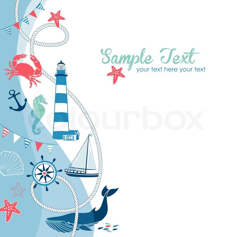 Nautical border with space for your text   Stock Vector   Colourbox
