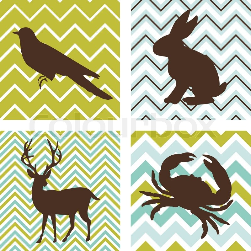 A set of 4 seamless retro patterns and 4 silhouettes of animals ...