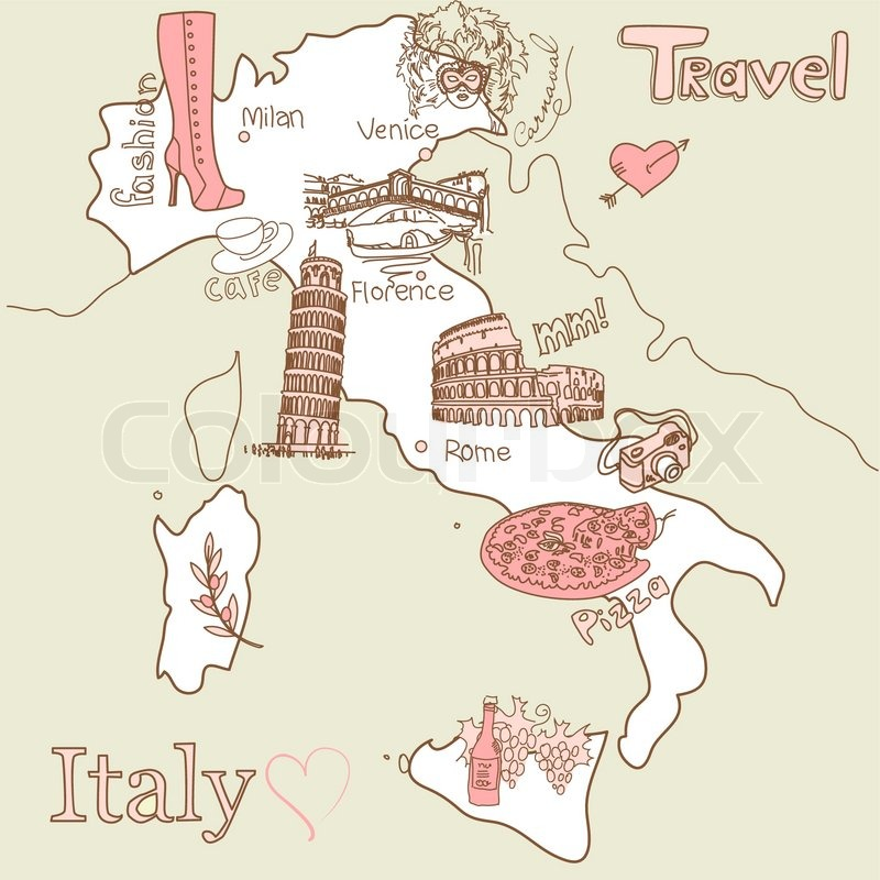 Creative map of Italy all the best tourist attractions – Travel Map Of Italy