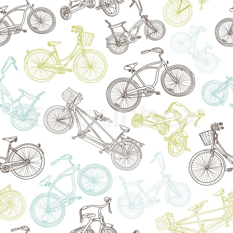 Seamless bicycle background | Stock Vector | Colourbox
