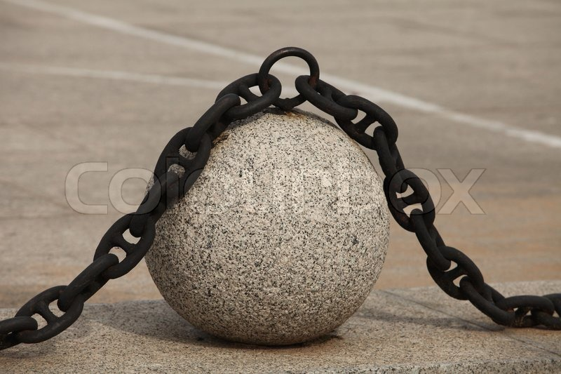 decorative fence granite balls with chain stock photo colourbox - Decorative Chain