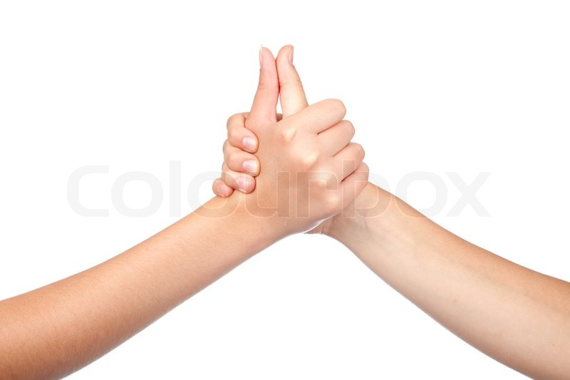 Two Hands Teenager Holds His Thumb Up Teamwork Symbol For Success