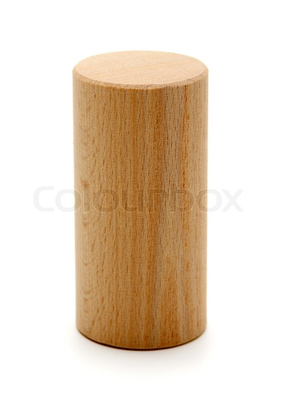 Wooden geometric shapes cylinder prismisolated on a white | Stock Photo | Colourbox