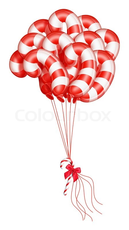 Whimsical Candy Cane Christmas Balloons Stock Image