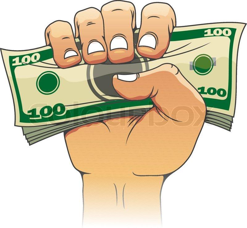 Money In People Hand Stock Vector Colourbox