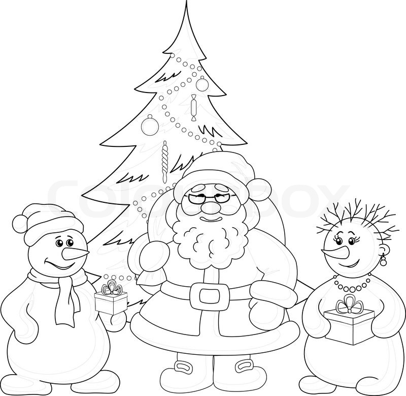 Santa Claus Christmas tree and snowmans outline  Stock Vector