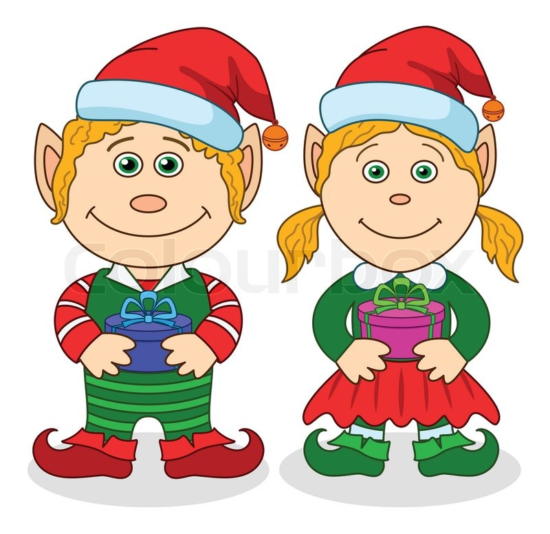 Christmas elves, boy and girl | Stock Photo | Colourbox
