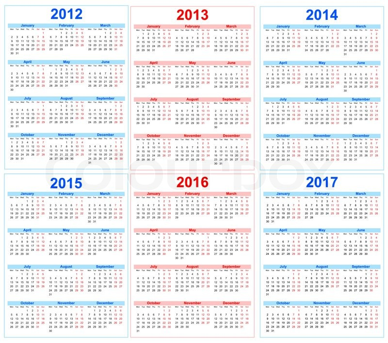 Календари на 2013-20128 года - Векторный клипарт Calendars 2013-2018 - Stock Vectors 5 EPS + JPG Preview 62 Mb rar.