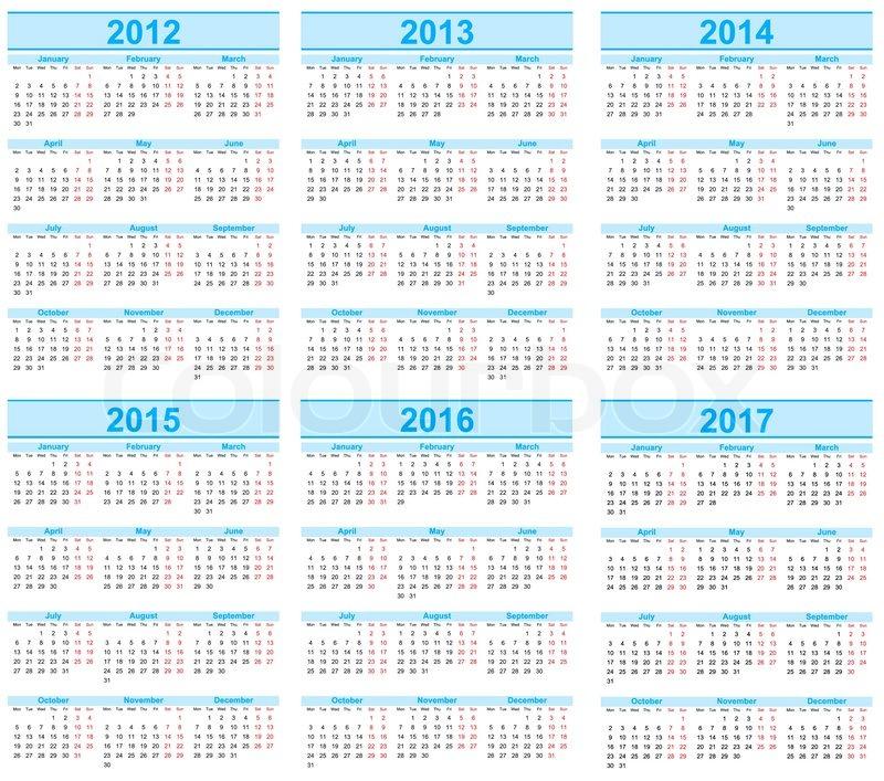 Stock Vector Of  Calendar 2012  2013  2014  2015  2016  2017