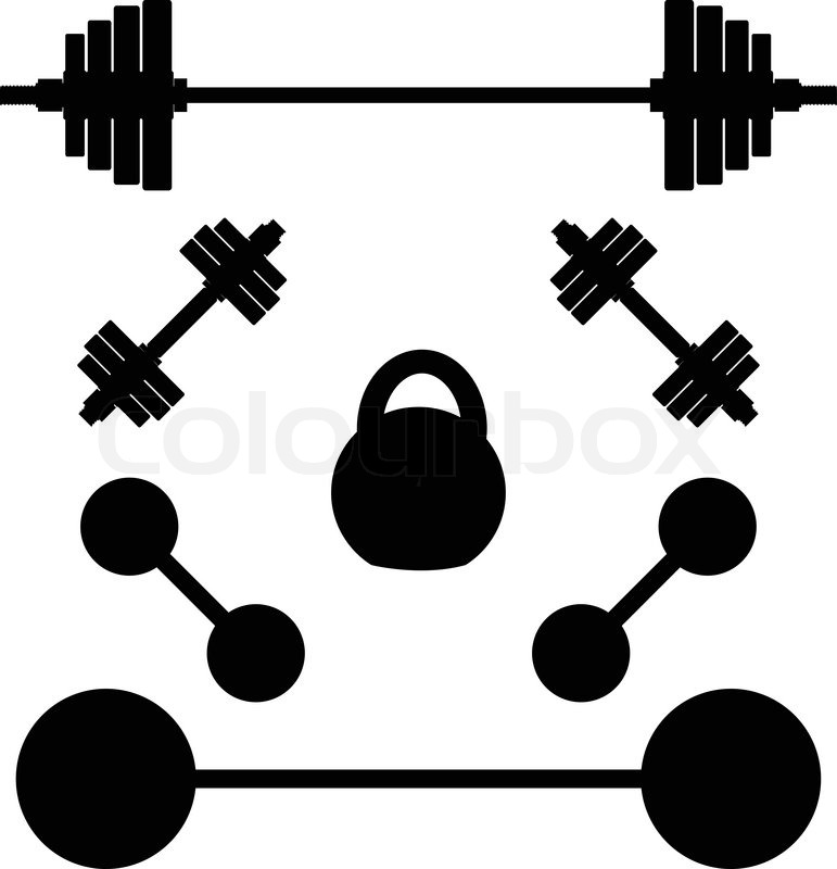 Silhouettes Of Weights Stock Vector Colourbox