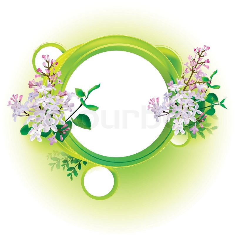 Round natural frame with leaves and flowers | Stock Vector | Colourbox