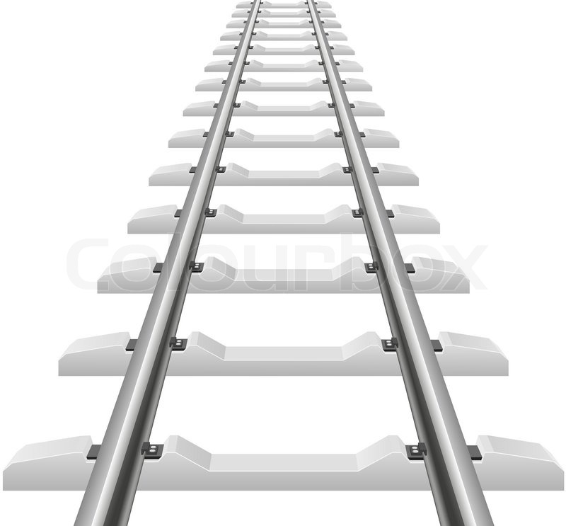 Rails With Concrete Sleepers Vector Illustration Stock