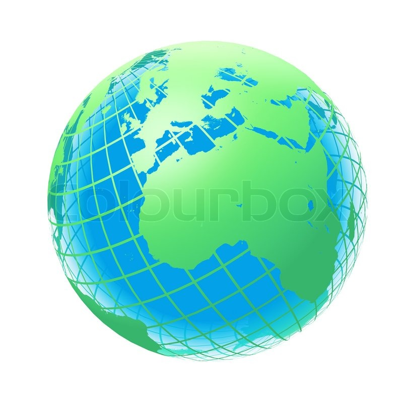 transparent the globe green and blue color stock photo