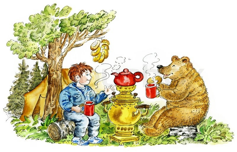 Picture of boy and bear drinking tea