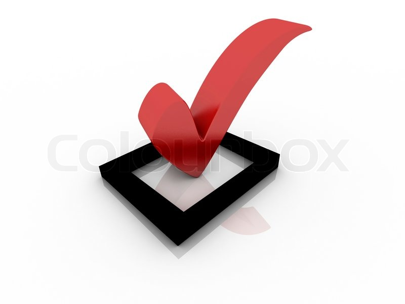 Red Check Box With Check Mark Stock Photo Colourbox